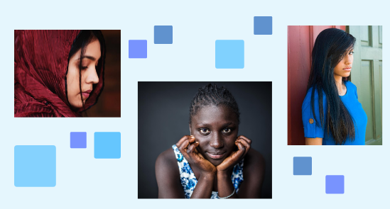 Collage of photos of women and girls of color