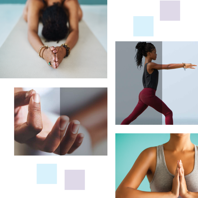 collage of photos depicting yoga poses